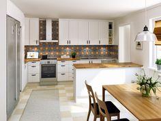 Lantligt kök. Modell: Tradition, Färg: Äggskal   NordDesign Kök Kitchen Cabinets, Table, Furniture, Design, Home Decor, Decoration Home, Room Decor, Cabinets