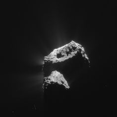 Single frame enhanced NAVCAM taken on 7 December 2015, when Rosetta was 103.1 km from the nucleus of Comet 67P/Churyumov-Gerasimenko. The scale is 8.8 m/pixel and the image measures 9 km across.