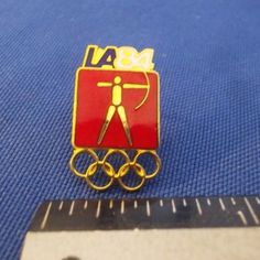 Archery Olympic Pin Badge ~ Blue ~ Pictogram ~ 1984 Los Angeles ~ LA