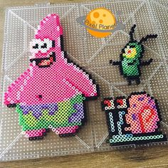 SpongeBob Squarepants characters perler beads by pixel_planet_