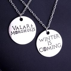 MQCHUN Game of Thrones Winter is Coming Valar Morghulis Pendant Necklaces Pretty Little Liars Got A Secret Can You Keep It
