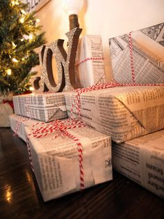 Image result for presents wrapped in newspaper