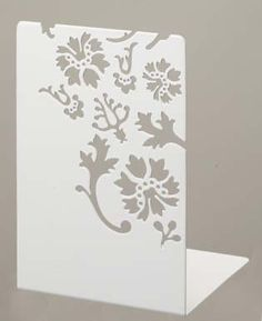 Kirie  Pair of White Metal Bookends with Flower Cutout Pattern Modern Home Decor * For more information, visit image link.