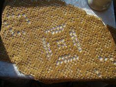 Crocheted metallic gold table runner by BearMtnCrochet on Etsy