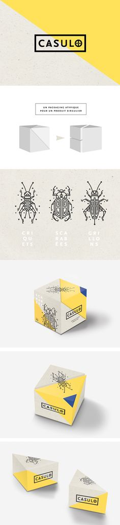 C A S U L O Cooked Insect Packaging by Laura Martinet Fivestar Branding Agency – Design and Branding Agency & Curated Inspiration Gallery Typo Design, Box Design, Identity Design, Brand Identity, Logo Branding, Branding Agency, Packaging Design Inspiration, Graphic Design Inspiration, Layout