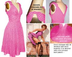 Full Circle skirted Dress 50s 1950s Pin Up Bomshell Shoulder Tie Hourglass Dress... your fabric... your custom measurements...