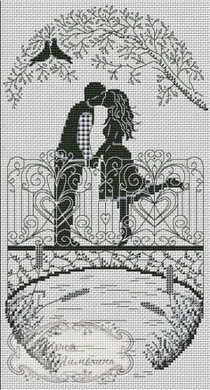 ru / Lovers on the Bridge - Plans for his own sketches - timohina Love this one. Don't know what I'd do with it, but is filled with emotion! Blackwork Cross Stitch, Blackwork Embroidery, Cross Stitching, Cross Stitch Embroidery, Wedding Cross Stitch Patterns, Counted Cross Stitch Patterns, Cross Stitch Designs, Cross Stitch Pictures, Cross Stitch Heart