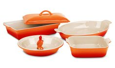 Le Creuset Stoneware Heritage Bakeware Set, 6-piece Flame   Cutlery and More