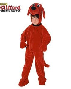 Clifford The Big Red Dog Jumpsuit Child Medium Costume by Forum Novelties. $29.97. Medium - Fits Size 7-8. Clifford the Big Red Dog plush velour character hood with attached front zipper jumpsuit.