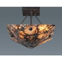 Elk Lighting 9004/4 Alabaster Stone / Glass Semi-Flush Ceiling Fixture from the Imperial Granite Collection
