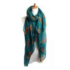 Green Chic Ladies Cartoon Fox Voile Animal Print Scarf ($8.75) ❤ liked on Polyvore featuring accessories, scarves, animal print scarves, comic book, green scarves, fox shawl and green shawl
