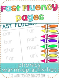 fast fluency pages - easy, quick resource  to have students practice reading and writing phonics skills - get the -AR pack for only one dollar! https://www.teacherspayteachers.com/Product/Fast-Fluency-ar-3045461