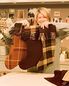 Blanket stockings - get a cute blanket from Goodwill for this!