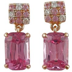 Jona Pink Spinel Sapphire Diamond Gold Dangle Earrings | From a unique collection of vintage dangle earrings at https://www.1stdibs.com/jewelry/earrings/dangle-earrings/