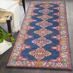 "Persian Inspired Boho Navy & Pink (2'7"" x 7'3"") | Overstock.com Shopping - The Best Deals on Runner Rugs"