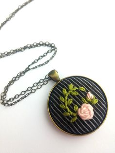 Pink Rose Hand Embroidered Round Pendant Necklace, Romantic Long Chain Necklace by RedWorkStitches on Etsy