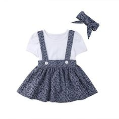 Toddler Kids Baby Girls Outfits White Short Sleeve T-Shirts Top Flower Print Bib Suspender Tutu Skirt Children's Clothes Baby Outfits, Toddler Girl Outfits, Toddler Fashion, Kids Outfits, Kids Fashion, Fashion Clothes, Boy Clothing, Children Clothing, Overall Skirt
