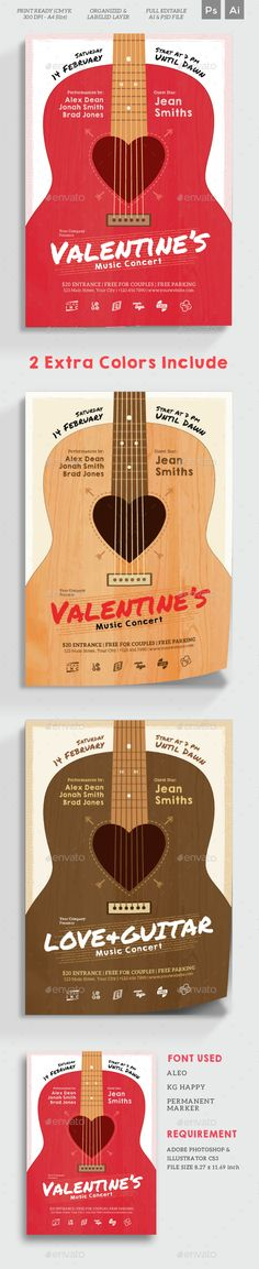 Love Music Valentine's Flyer Template PSD, Vector AI Illustrator #design Download: http://graphicriver.net/item/love-music-valentines-flyer/14533185?ref=ksioks