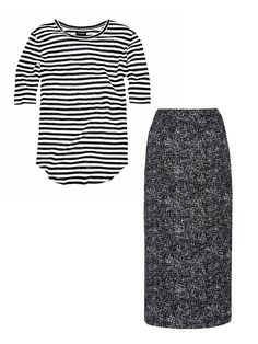 3 New Outfit Combos to Try This Spring via @WhoWhatWear   Mixed-Print Tee + Pencil Skirt