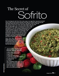 Sofrito is the base of Puerto Rican food. We use it to elaborate almost all of our dishes. It's to make stews, rices, meat, fish, and chicken. Puerto Rican Sofrito, Puerto Rican Dishes, Puerto Rican Cuisine, Puerto Rican Recipes, Mexican Food Recipes, Sofrito Recipe Puerto Rico, Sofrito Recipe Cuban, Puerto Rican Pasteles, Gastronomia
