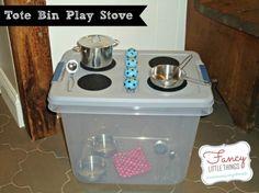 Kids Christmas Gift IDea --- DIY: Tote Bin Play Stove Tutorial