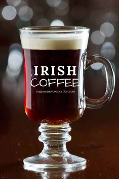 Learn how to make a traditional Irish Coffee using black coffee, sugar, Irish whiskey and a float of whipped cream. Irish Cocktails, Coffee Cocktails, Coffee Uses, Great Coffee, Irish Coffee, Irish Whiskey, Easy Dinner Recipes, Holiday Recipes, Brunch Recipes