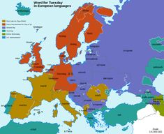 Word for Tuesday in European Languages