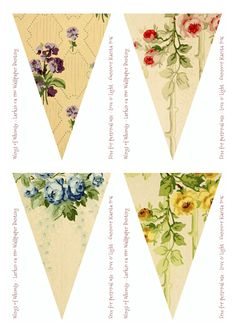 Wings of Whimsy: Larkin Vintage Wallpaper Flags banderin Printable Banner, Bunting Banner, Scrapbook Paper Crafts, Scrapbooking, Printable Designs, I Wallpaper, Paper Flowers, Paper Art, Clip Art