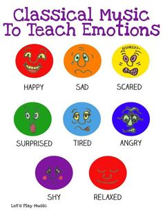A list of classical music to teach emotions, to be used alongside for imaginative movement, background to imaginative play or simply to listen to. Music Classical Music To Teach Emotions - Let's Play Music Preschool Music Activities, Emotions Preschool, Teaching Emotions, Teaching Music, Movement Activities, Music Therapy Activities, Listening Activities, Tools For Teaching, Teaching Kids