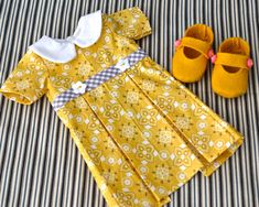 Classic Cotton Print Pleated Doll Dress and Shoes