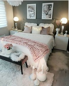 Cozy Home Decorating Ideas for Girls Bedroom - Bedroom Decor Ideas Cute Room Decor, Teen Room Decor, Home Decor Bedroom, Modern Bedroom, Contemporary Bedroom, Bedroom Inspo, Bedroom Decor Ideas For Teen Girls, Bedroom Bed, Minimalist Bedroom
