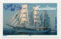 sello emitido por Francia y que nos muestra al Buque Escuela de la Armada de México : el Cuauhtemoc