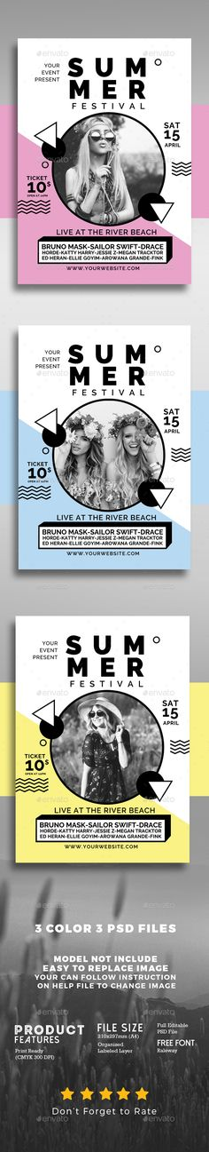 Buy Summer Music Festival by Muhamadiqbalhidayat on GraphicRiver. Summer Music Festival Simple style and unique flyer, poster, invitation design for your next event. Flugblatt Design, Media Design, Flyer Design, Layout Design, Creative Design, Design Ideas, Music Festival Logos, Festival Flyer, Festival Posters