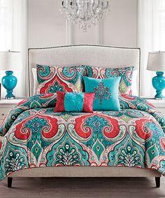 Teal & Red Casablanca Comforter Set by Victoria Classics #zulily #zulilyfinds