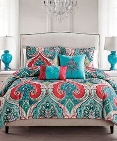 Teal & Red Casablanca Comforter Set by Victoria Classics #zulily #zulilyfinds