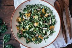 Chopped Spinach Fattoush Salad with Tahini-Sumac Sauce Recipe on Easy Spinach Recipes, Healthy Recipes, Whole Food Recipes, Vegetarian Recipes, Dinner Recipes, Chopped Spinach, Mediterranean Dishes, Salad Ingredients, Spring Recipes