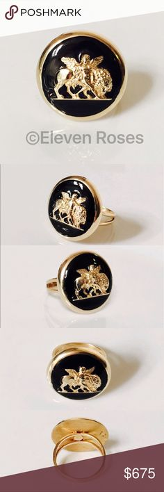 14k Gold & Enamel Angel Cherub Large Disc Ring Vintage Angel / Cherub With Lion Ring - 585 14k Yellow Gold & Black Enamel - US Size 10 - Able To Be Resized -  Preowned / Preloved  💕 May Show Slight Signs Of Having Been Worn.    📷  Listing Images Are Of Actual Item Being Offered Jewelry Rings