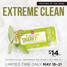 The Purifier's natural scrubbing beads, tea tree oil, and eucalyptus cleanse and purify skin, resulting in one seriously extreme scrubby bar. Natural exfoliants remove dry, dead skin while simultaneously moisturizing with gentle shea butter.   Www.pickposh.com   #perfectlyposh #posh #snarkybar #moisturize #teatree #pickposh #beauty #naturallybased #crueltyfree