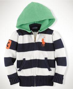 Ralph Lauren Kids Hoodie, Little Girls Striped Hooded Sweater - Kids Girls 2-6X - Macy's