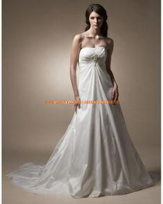 Klassische Brautkleider aus Satin A-Linie mit Schleppe 2013