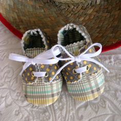 Brown and Yellow Plaid Baby Boy Oxfords 3 to by JeralynsCreations, $15.99