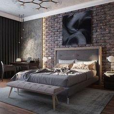 30 Attractive Industrial Bedroom Design Ideas 30 Attrac… - All About Decoration Design Loft, Bed Design, Modern Bedroom Furniture, Home Decor Bedroom, Bedroom Modern, Bedroom Ideas, Master Bedroom, Contemporary Bedroom, Bedroom Designs