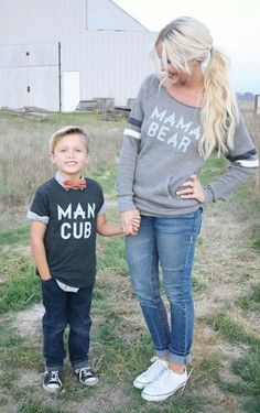 Mom and son shirts. So cute! Now what would I have to do to get our boy to wear this...hmm...