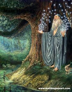 """""""Merlin, Invocation of the Druid"""" by Matt Hughes. From the stories of Avalon, Camelot and King Arthur. King Arthur Legend, Legend Of King, Merlin, Die Nebel Von Avalon, Fantasy World, Fantasy Art, Wicca, Mago Tattoo, Mists Of Avalon"""