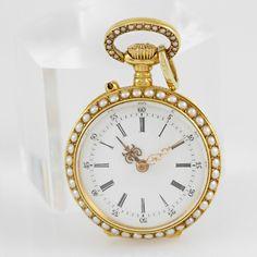 Damentaschenuhr GG 18 K mit Altschliff Dia. zus. ca. 0,20 ct, Halbperlen, Zylinderwerk, Frankreich 1 — Uhren