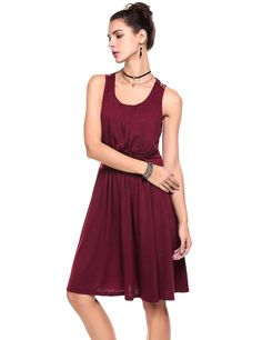 Red Sleeveless Crochet Lace Patchwork A-Line Short Casual Dress
