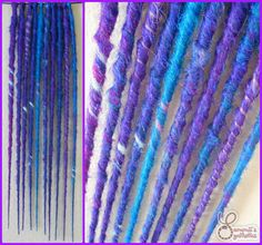 """10 SE purples/blues, blended/marbled/splashed/wrapped - 18-19"""" long #syntheticdreads #sammiissynthetics"""