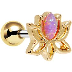 """1/4"""" Pink Faux Opal Gold Plated Lotus Tragus Cartilage Earring   Body Candy Body Jewelry"""