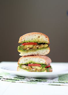 Grilled Summer Vegetable Sandwiches Recipe with Pesto