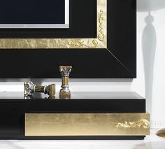 Black and Gold Room | Luxus Black And Gold Leaf Living Room Set Collection